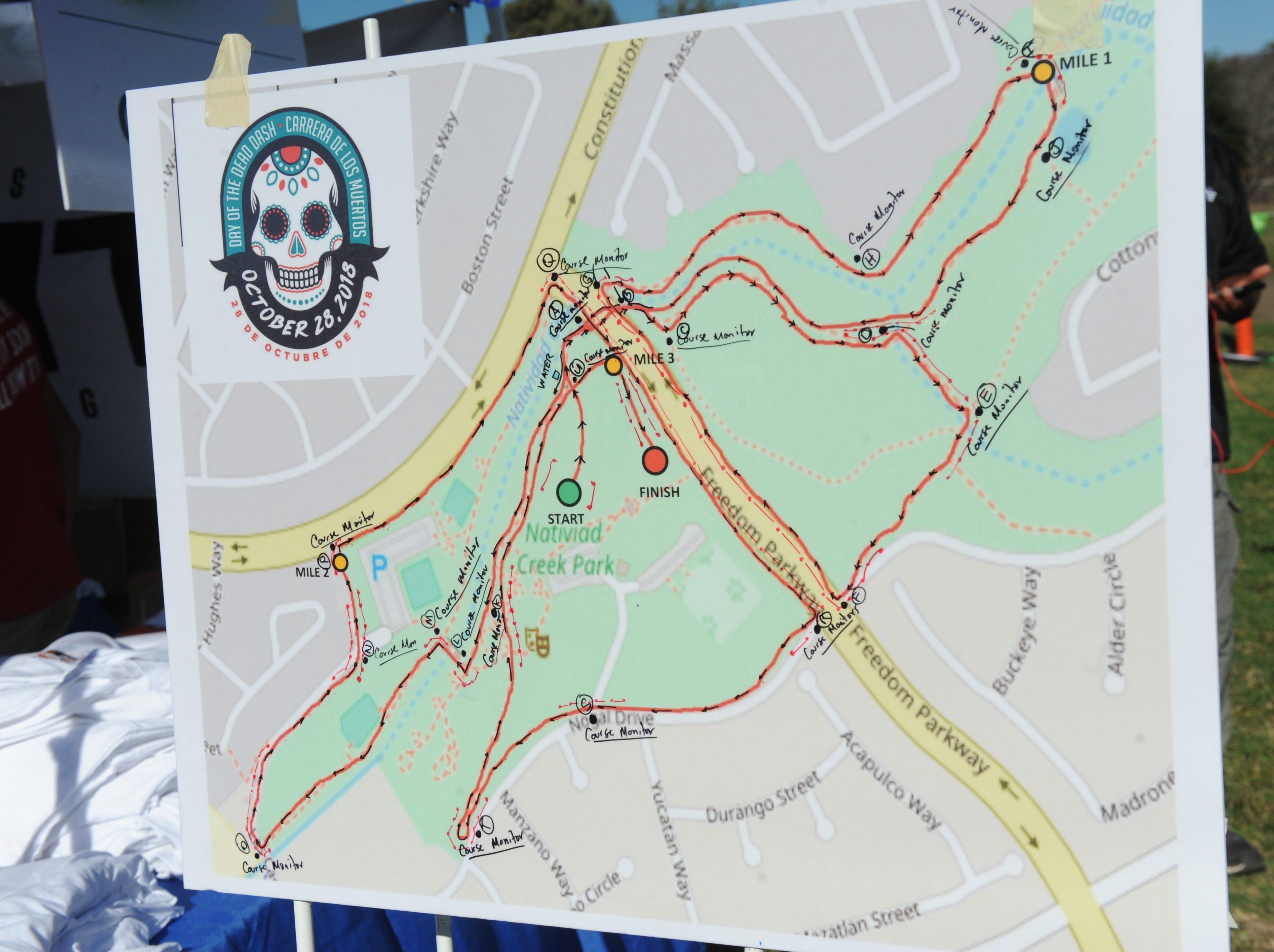 The map for the Día de los Muertos 5k run at Natividad Creek Park on Sunday.