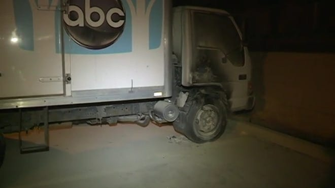 A screenshot of the KSBW news report on one of their news trucks being set on fire Friday night. The fire was put out without hurting anyone.