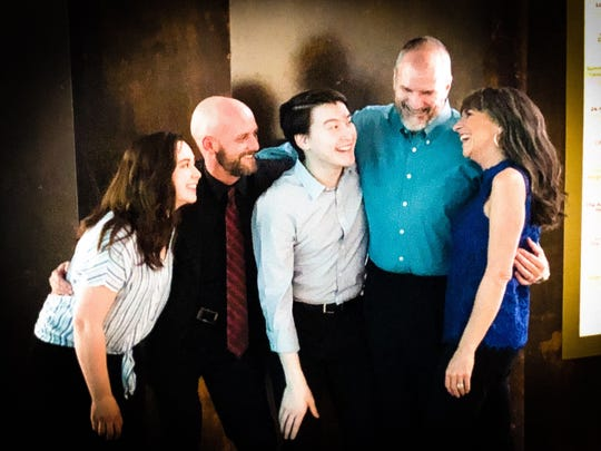 """Musical director Dave Engelman, second from left, worked with cast members Kristin Schwarz,  Nicholas Dietrick, Ken Roberts and Elena Kent for Be Theatre's production of """"I Love You, You're Perfect, Now Change."""""""