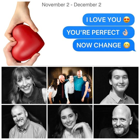 "The poster for Be Theatre's production of ""I Love You, You're Perfect, Now Change."""