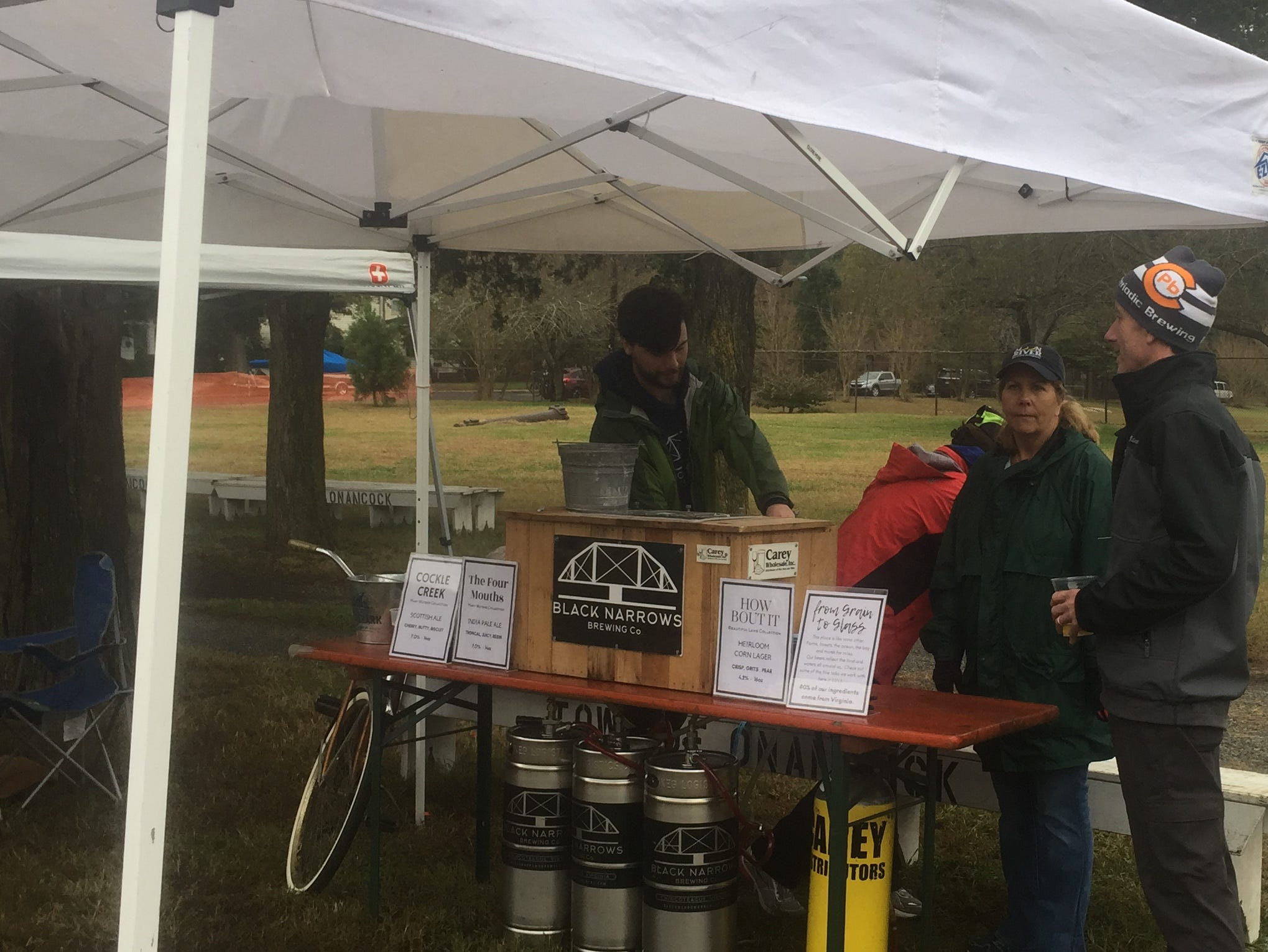 The crew from Black Narrows Brewing Co. had a booth at the Bike & Brew event at the Historic Onancock School on Saturday, Oct. 27, 2018. The event, held following the CBES Bike Ride, highlighted the Eastern Shore of Virginia's two breweries, Black Narrows Brewing Co. and Cape Charles Brewing Co.