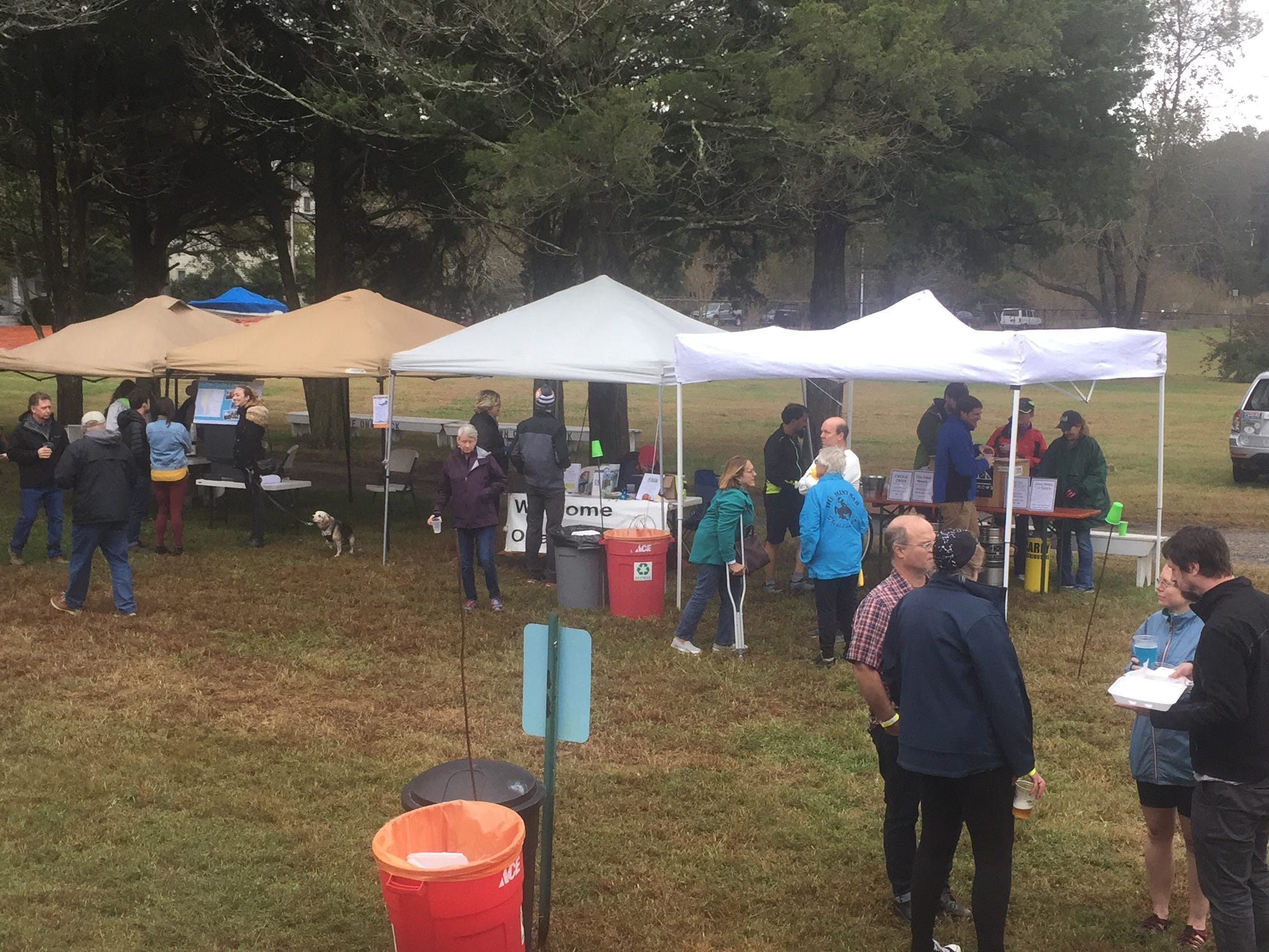 Bicyclists and others mingle at the Bike & Brew event at the Historic Onancock School on Saturday, Oct. 27, 2018. The event, held following the CBES Bike Ride, highlighted the Eastern Shore of Virginia's two breweries, Black Narrows Brewing Co. and Cape Charles Brewing Co.