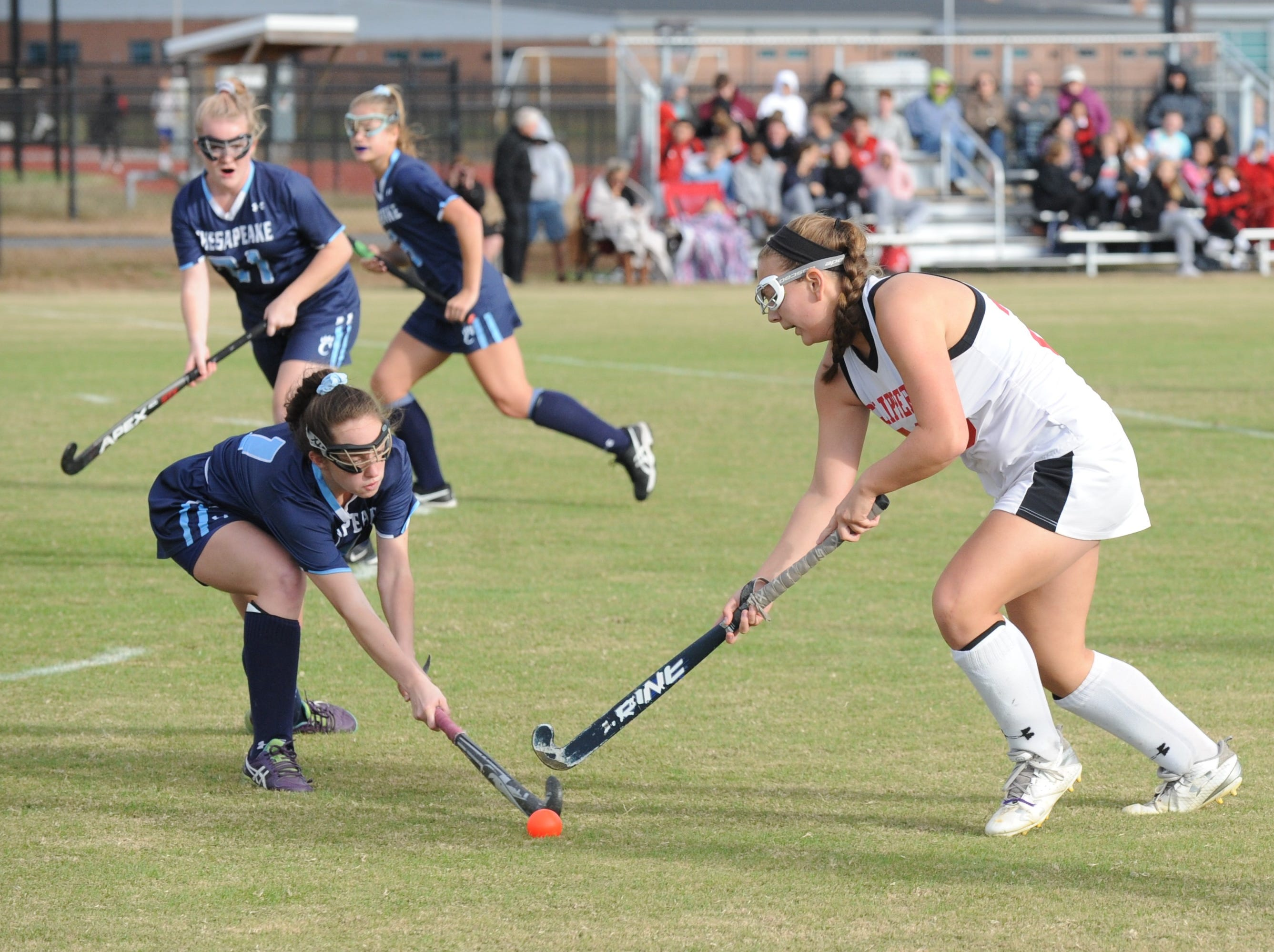Bennett's Vicky Hoisington attempts to take the ball away from Chesapeake's Leah Evans on Monday, Oct. 29, 2018 in 3A playoff action. Chesapeake won the game, 1-0.