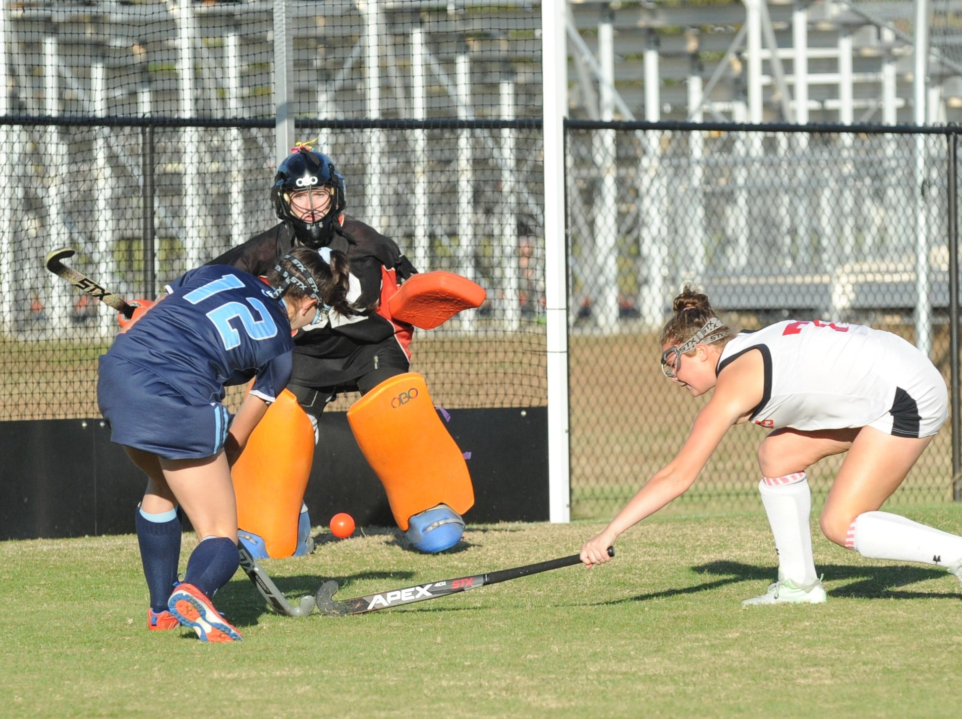 Bennett goalie Elizabeth Rogers defends a shot by Chesapeake's Mason Frechtel on Monday, Oct. 29, 2018 in 3A playoff action. Chesapeake won the game, 1-0.