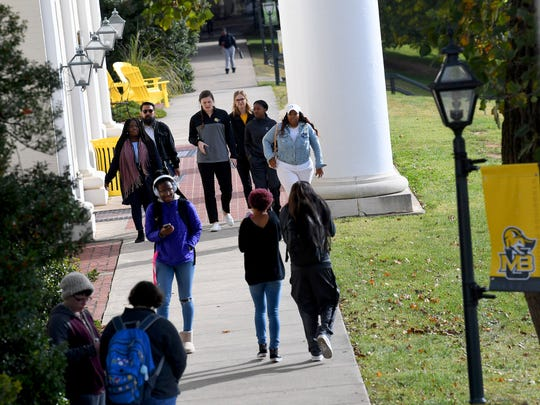 Students move about campus at Mary Baldwin University on October 25, 2018.