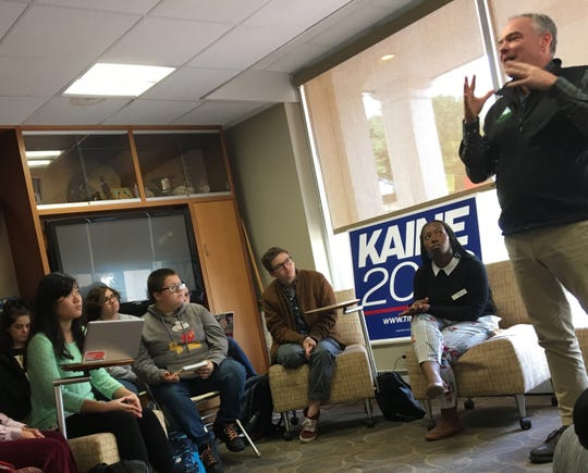 Sen. Tim Kaine talked to Mary Baldwin University students about voter engagement and his time in the Senate.