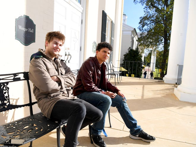 Juniors Dominic Walker and Logan Davenport of Mary Baldwin University sit together in front of Wenger Hall. They talk about their first two years at the school during an interview on campus on October 25, 2018. Both were among the first eight males to live on campus.