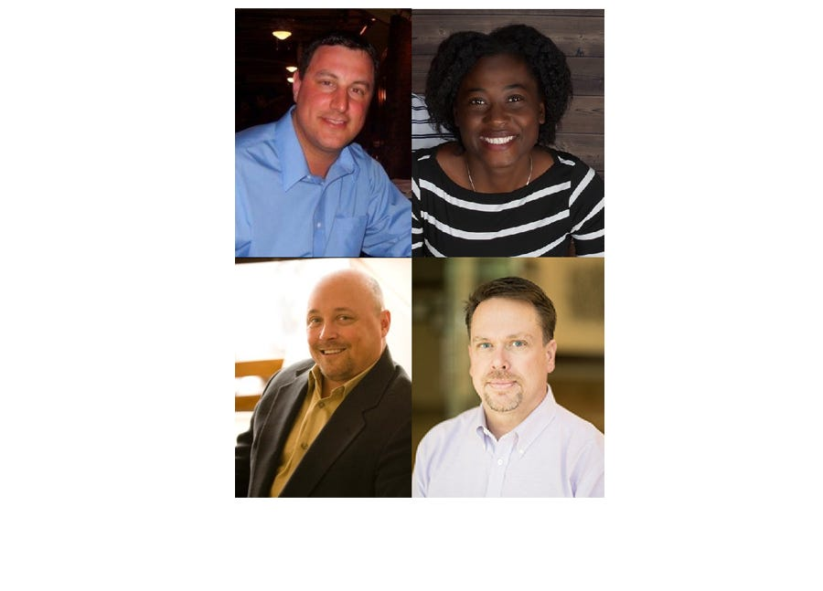 Four newcomers are running for two seats on Sartell City Council. From top left: Brady Andel, Barika Davis, Tim Elness and Jeff Kolb.