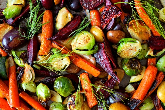 A colorful assortment of roasted autumn vegetables, all in-season for late fall in Iowa.