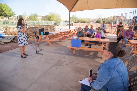 Shireen Ghorbani, candidate for Utah's 2nd Congressional District, speaks to St. George residents at a town hall meeting at Switchpoint Monday, Oct. 29, 2018.