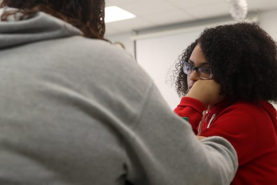 Shapella Williams, 16, a sophomore, talks to a friend in agriculture class at Sneads High School in Sneads, Fla. Monday, Oct. 29, 2018 as classes resumed at the school for the first time since Hurricane Michael hit the community three weeks ago.