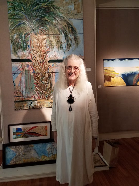 Artist donalee pond-Koenig, who died on July 12 after a battle with cancer, is shown at LeMoyne show featuring semi abstracts related to global warming and the changing landscape last year.