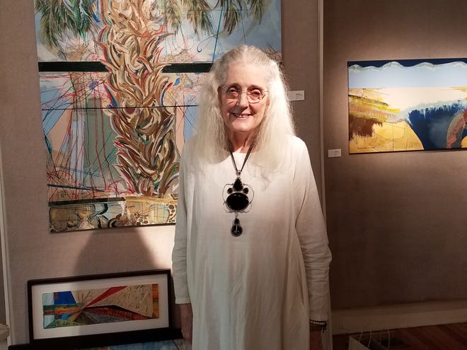 """Artist donalee pond-Koenig with her latest show """"Flats and Forms"""" at LeMoyne Arts."""