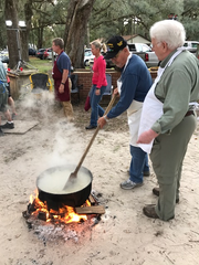 Preparing chicken pilau is an annual tradition for members of Chaires United Methodist Church.