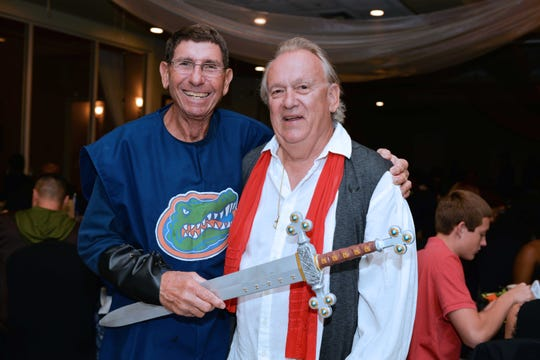 """Charlie Hayek, left, and Ed Hyer attend """"A Wedding Knight To Remember"""" on Oct. 20 at Santa Lucia River Club at Ballantrae."""
