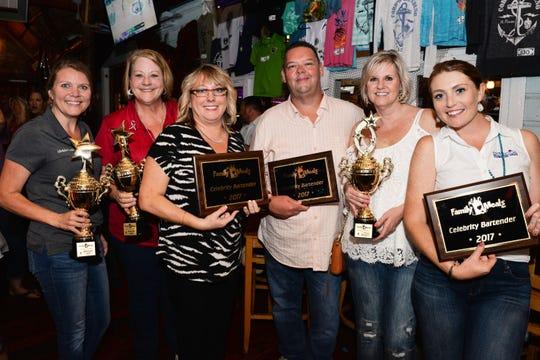 2017 Celebrity Bartenders, from left, Michelle Franklin, Terri Sloan-Bartz, Karen Tufte Heaning, Keith Rappa,  Dana Trabulsy and Lindsey Concannon.
