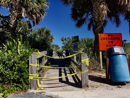 Pepper Park, like many St. Lucie County beaches on N. Hutchinson Island in St. Lucie County, still closed on Monday, Oct. 29, 2018, due to deads fish from red tide.