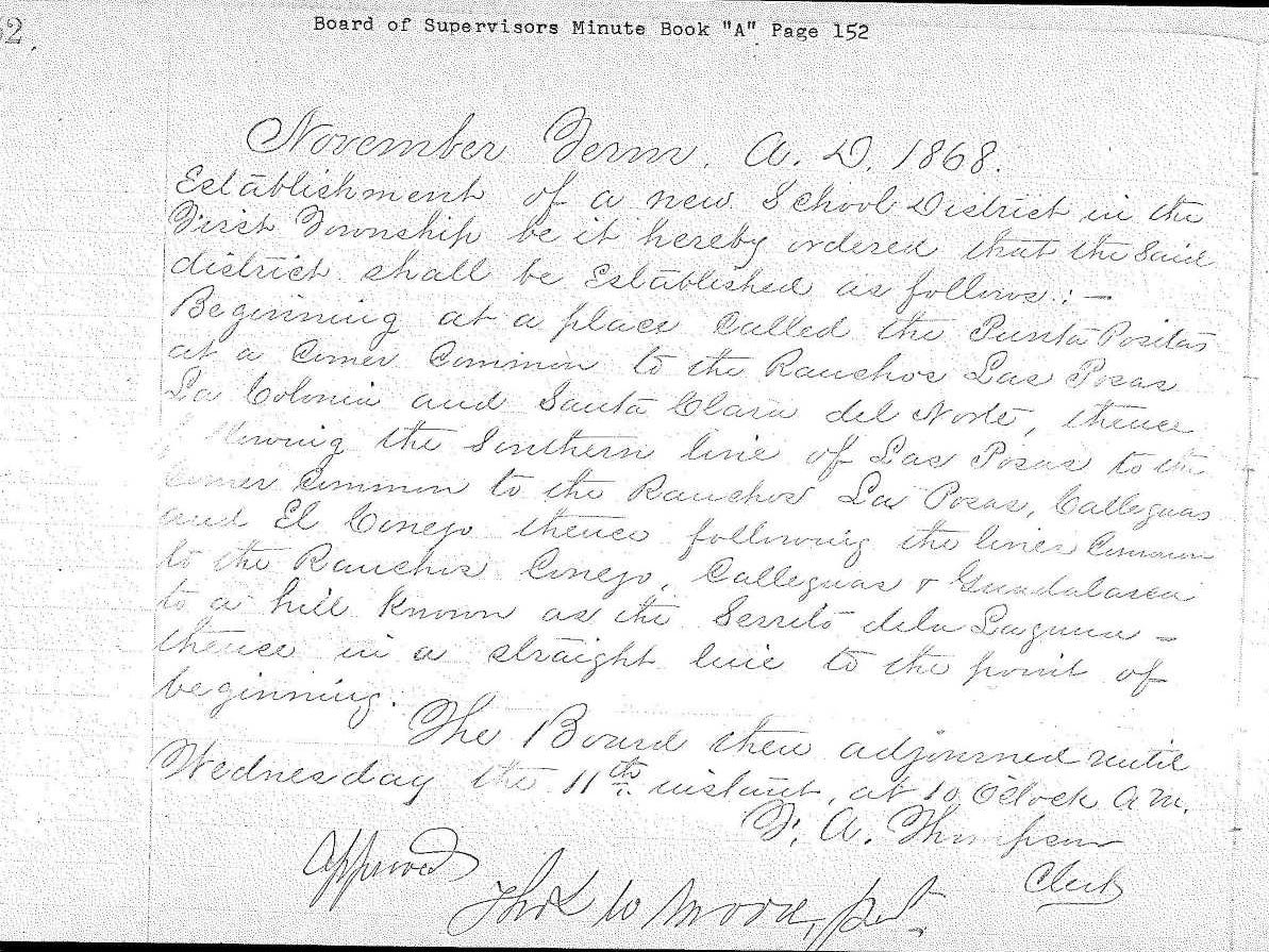 Early paperwork establishing the Pleasant Valley School District in 1868.