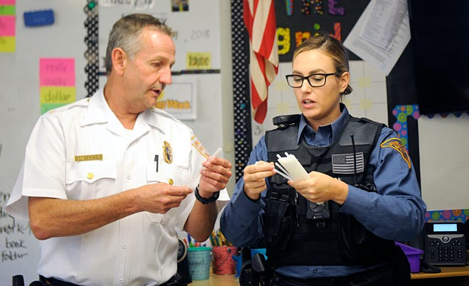 Students at Winslow Elementary School in Vineland got a surprise visit from members of the Vineland Police Department, including Chief Rudy Beu on Monday, October, 29. Officers handed out glow bracelets to help keep children safe when trick or treating.