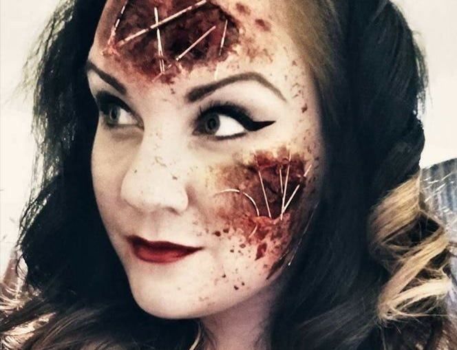 Lacey Radomski revels in the macabre and horrific in her special effects makeup art. She regularly posts her work on Facebook and Instagram.