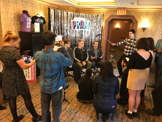 "The 10-student production team from New Rochelle High School film and interview producers from a new Broadway show ""The Prom"" on Oct. 29, 2018."