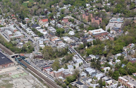 Downtown Hastings-on-Hudson from the sky, April 27, 2016.