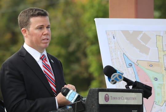 Chris Day Orangetown Supervisor speaks during a press conference at Nanuet train Station on Oct. 29, 2018.  Rockland commuters of the Pascack Valley line, which is owned by the MTA/Metro-North and operated by NJ Transit, are being excluded from a 10% fare discount being offered exclusively to NJ Transit at Nanuet.