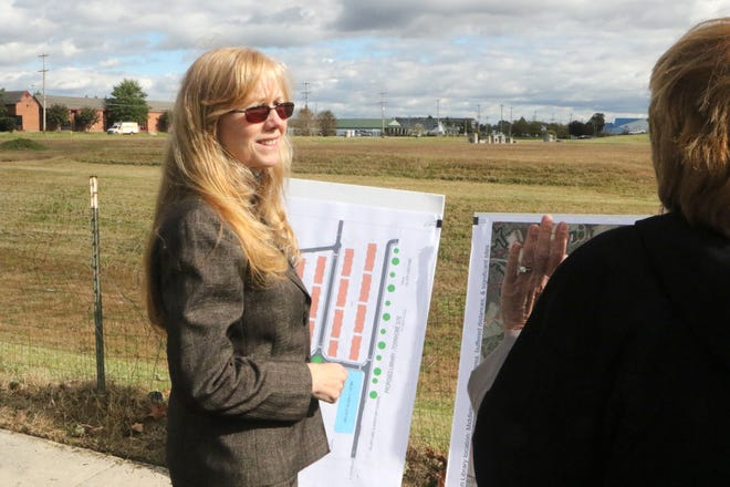 Delaware Sen. Stephanie Hansen, D-Middletown, talks to Diana Brown, the head of the New Castle County library system, about the new site of the Southern Library in Middletown. Hansen said area people would know right where the location on the corner of Main and Catherine streets would be if they are told it's the site of the Middletown Stonehenge.