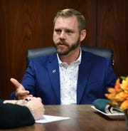 Nick Schreiber, candidate for Wichita Falls City Council District 4, meets with the Editorial Board of the Times Record News Monday.