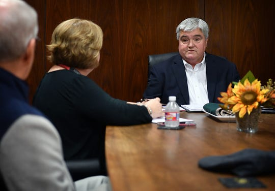 Tim Brewer, candidate for Wichita Falls City Council District 4, meets with the Editorial Board of the Times Record News Monday.