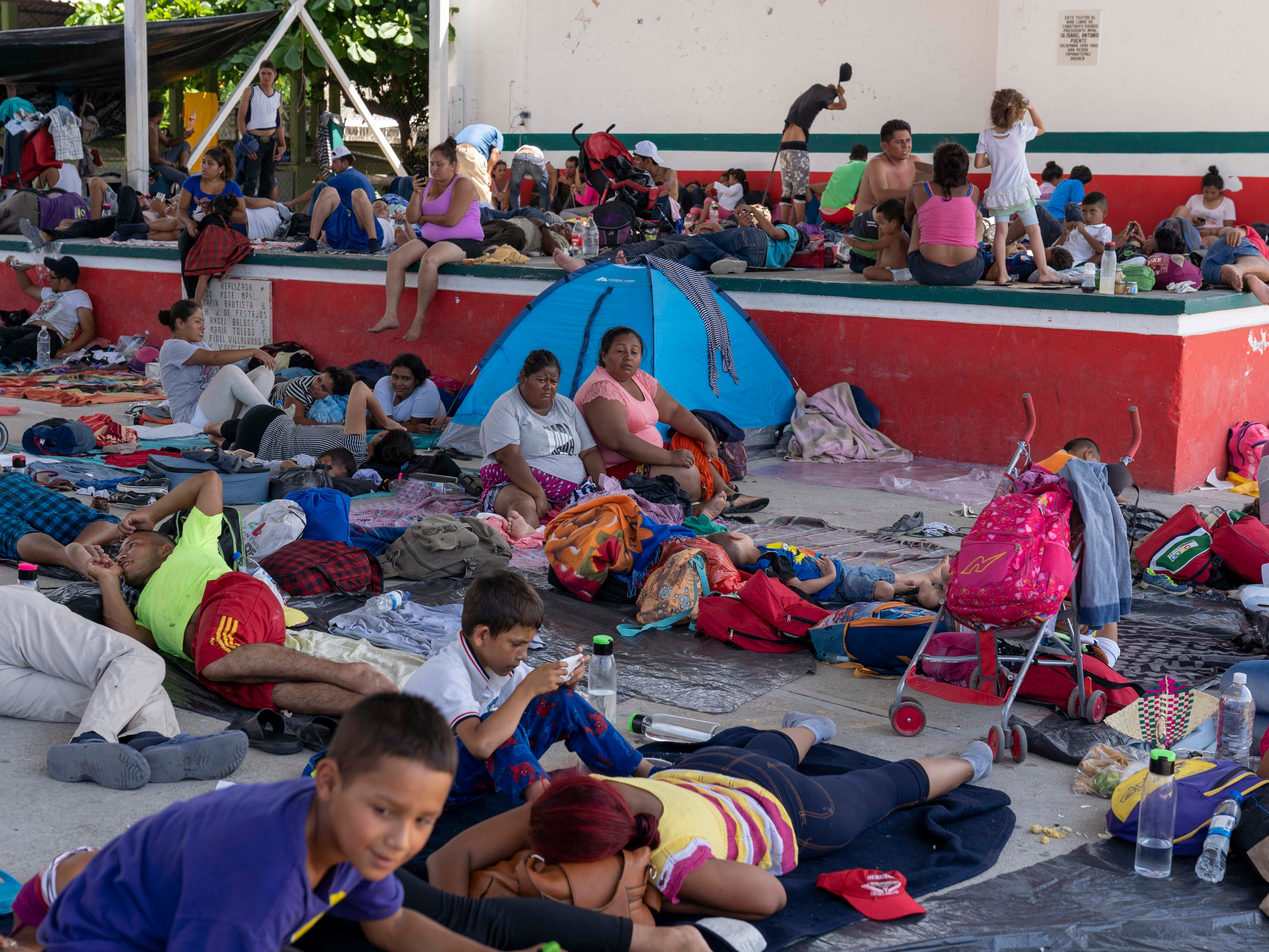 The migrants from Honduras and other Central American countries took a day off to rest on Oct. 28, 2018 in Tapanatepec, Mexico.