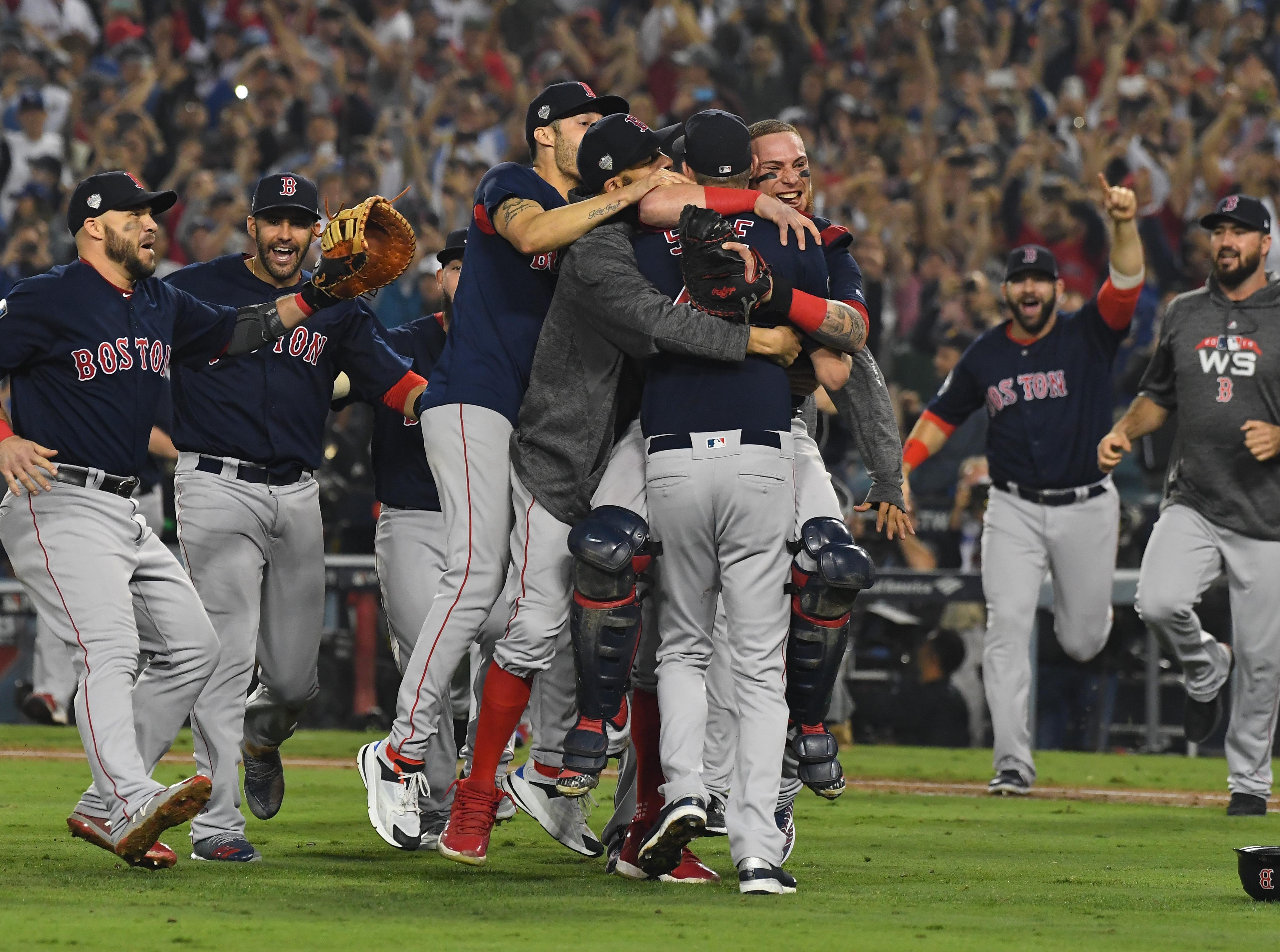 Game 5 at Dodger Stadium: Red Sox players celebrate their championship.