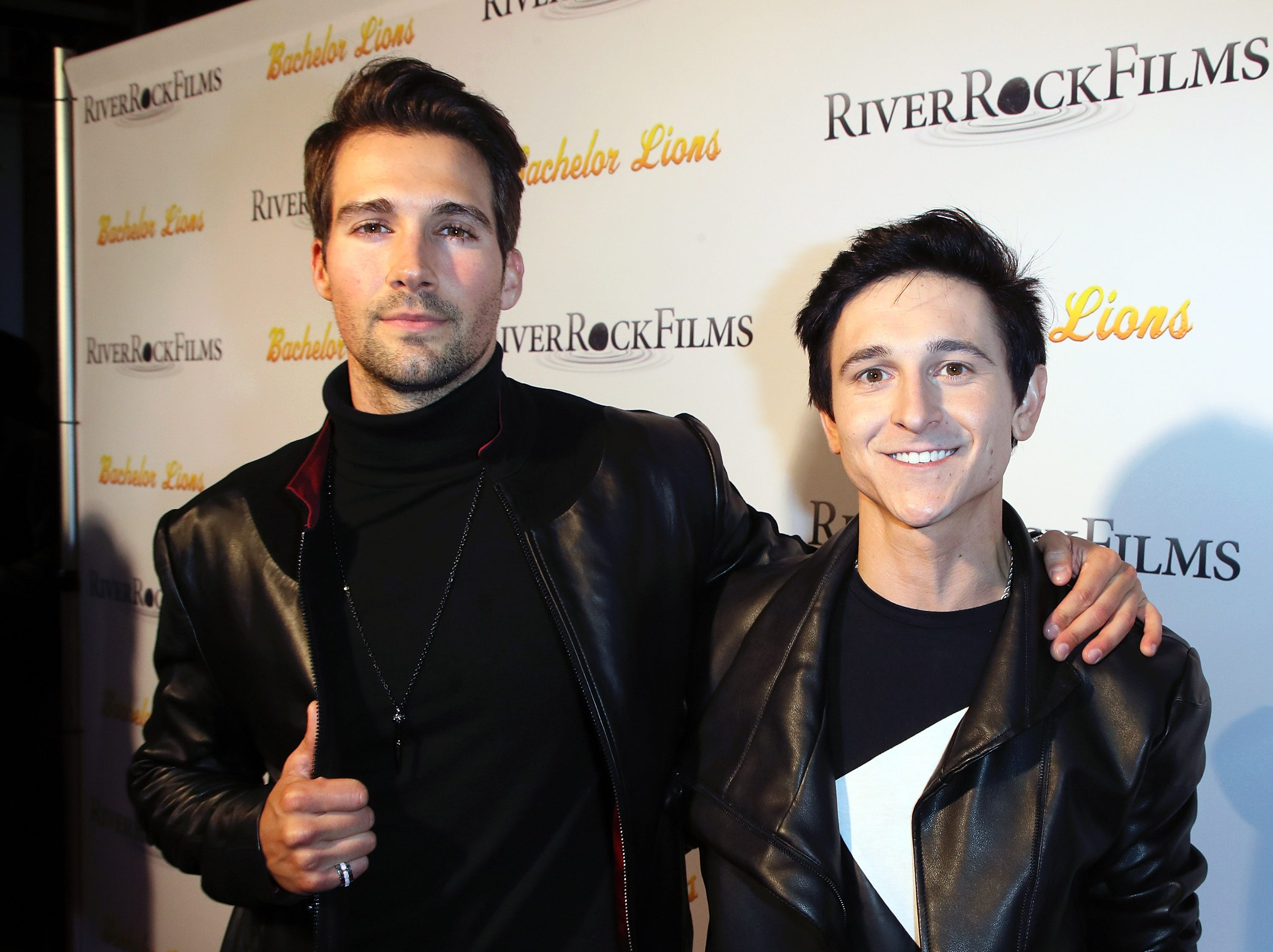 "HOLLYWOOD, CA - JANUARY 09:  Actors James Maslow (L) and  Mitchel Musso attend the premiere of ""Bachelor Lions""  at ArcLight Hollywood on January 9, 2018 in Hollywood, California.  (Photo by David Livingston/Getty Images) ORG XMIT: 775099241 ORIG FILE ID: 903170128"