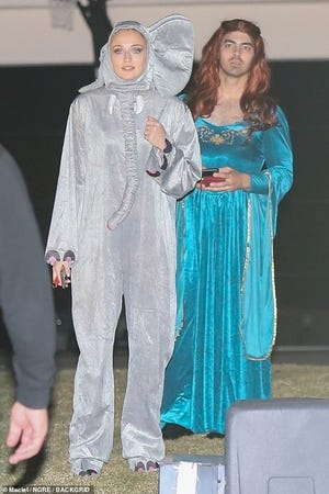 Joe Jonas, right, dressed like his partner's TV character for Halloween. Meanwhile, Sophie Turner went as an elephant for Kate Hudson's Halloween bash sponsored by Amazon.