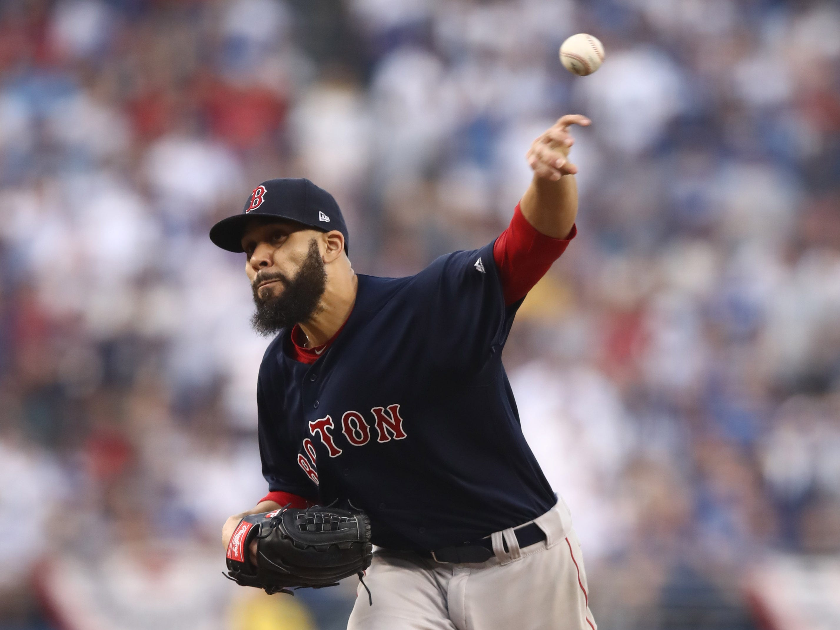 Game 5 at Dodger Stadium: David Price throws a pitch in the first inning.