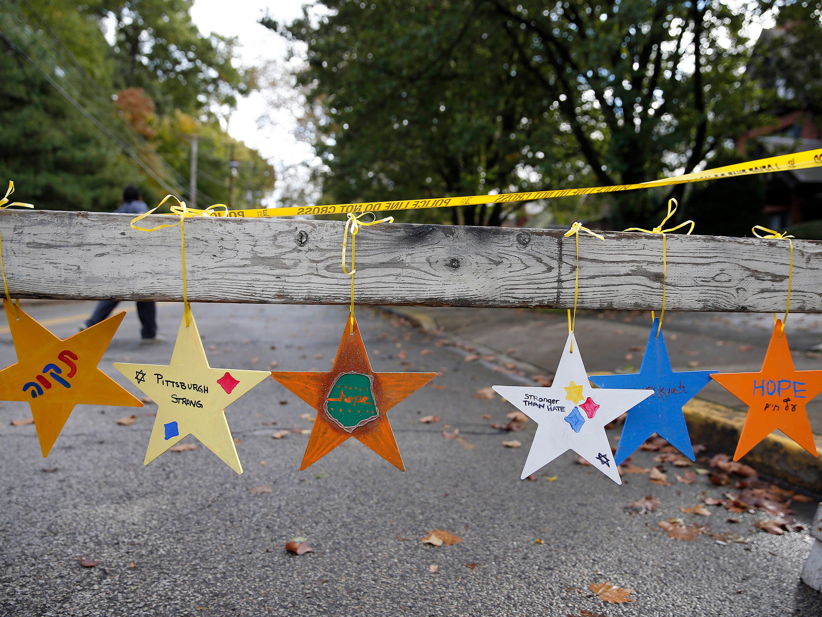 Messages on a barricade are left near the Tree of Life Congregation Synagogue in the Squirrel Hill neighborhood of Pittsburgh, Monday, October 29, 2018.