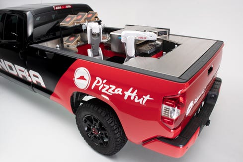 Pizza Hut and Toyota will show off this zero-emission prototype mobile pizza factory at Toyota's presentation during the 2018 Specialty Equipment Market Association (SEMA) Show. The Tundra PIE Pro can cook pizzas on the way to customers' homes.