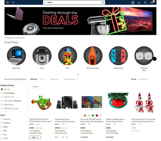 Walmart.com will have a deals page this holiday season.
