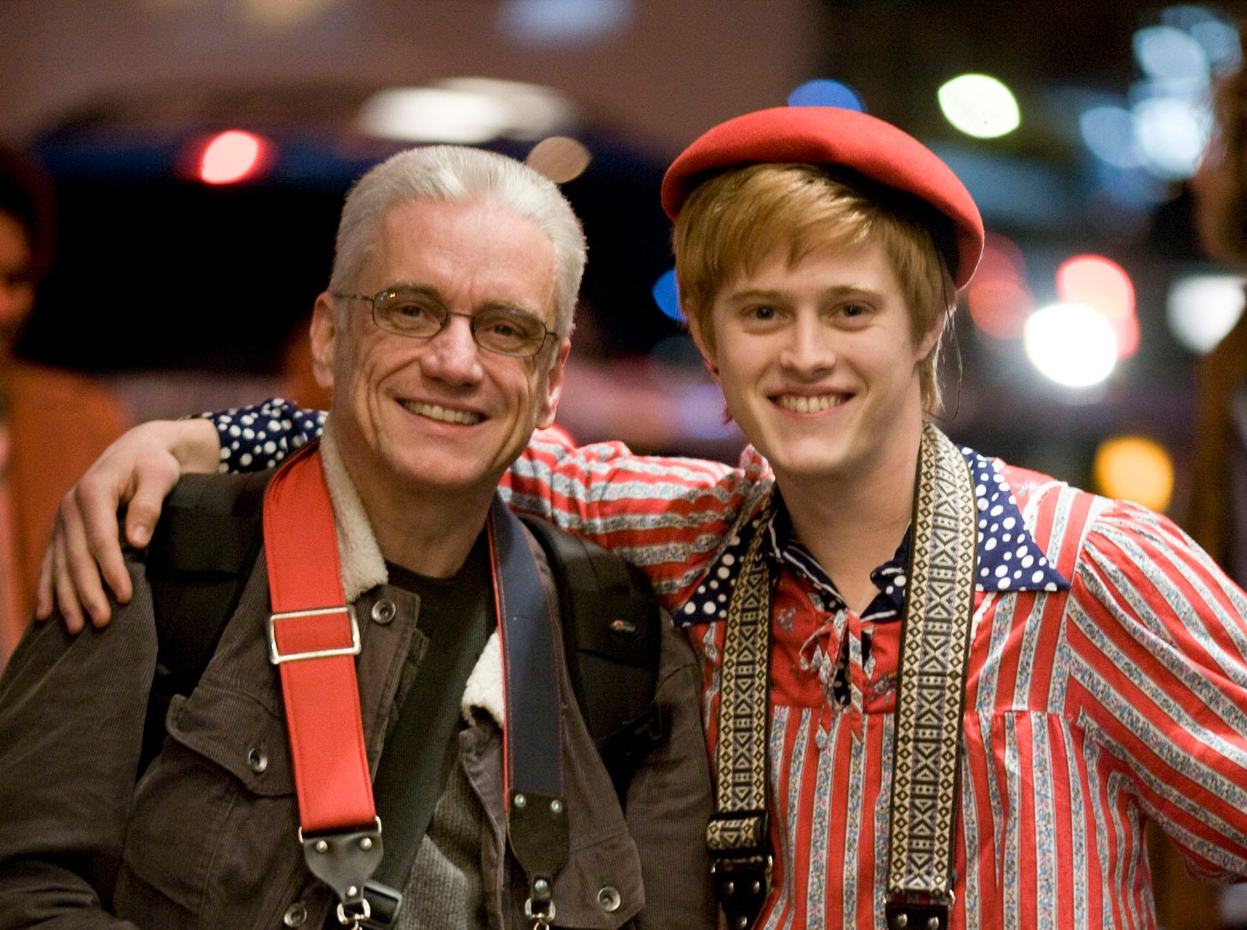 (L-R) Real-life gay activist Danny Nicoletta and his on-screen portrayer, actor Lucas Grabeel on the set of the motion picture Milk. --- DATE TAKEN: rec'd 12/08  By Phil Bray   Focus Features        HO      - handout   ORG XMIT: ZX70621