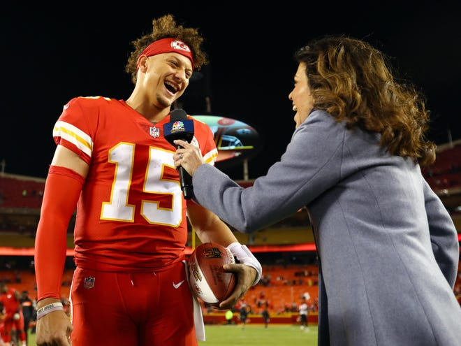 Young quarterbacks like Kansas City's Patrick Mahomes, being interviewed by sideline reporter Michele Tafoya, are among the reasons TV ratings are trending up this season.