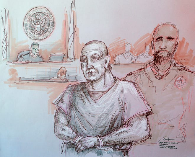 In this courtroom sketch, Cesar Sayoc, left, appears in federal court, Oct. 29, 2018, in Miami. Sayoc is accused of sending pipe bombs to prominent Democrats around the country.