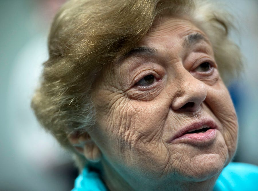 Magda Brown reflects on the time she spent in a concentration camp as a 17-year-old. Brown spoke to reporters on Monday, Oct. 29, 2018, at the Holocaust Center of Pittsburgh.  A gunman entered the Tree of Life Congregation Synagogue opened fire, killing 11 and wounding six on Saturday morning, according to officials.