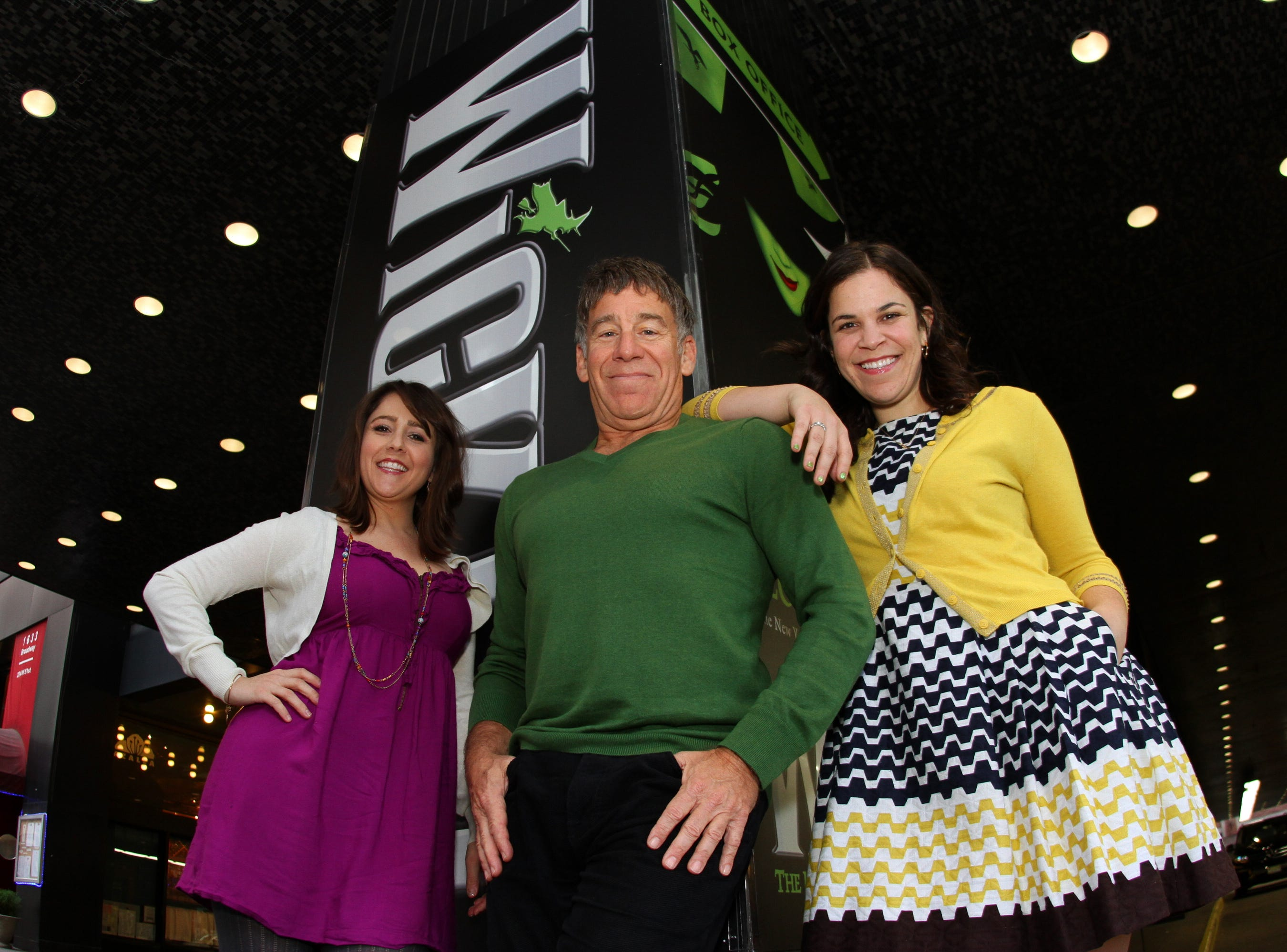 10/22/2013 -- New York, NY, U.S. Outlying Islands  --  Composer Stephen Schwartz and current stars Alli Mauzey, left, and Lindsay Mendez, right, of the Broadway hit WICKED on its 10th anniversary. --    Photo by Stan Godlewski, for USA TODAY. ORG XMIT:  SG 130277 Wicked 10/22/2013 [Via MerlinFTP Drop]