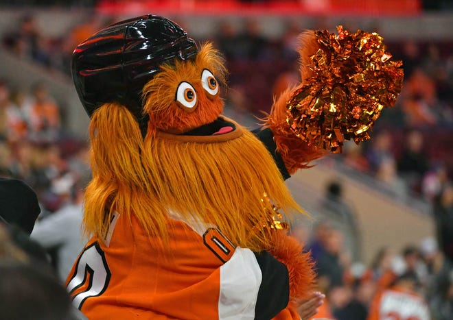 Flyers mascot Gritty performs during a timeout in the third period against the Florida Panthers at Wells Fargo Center.
