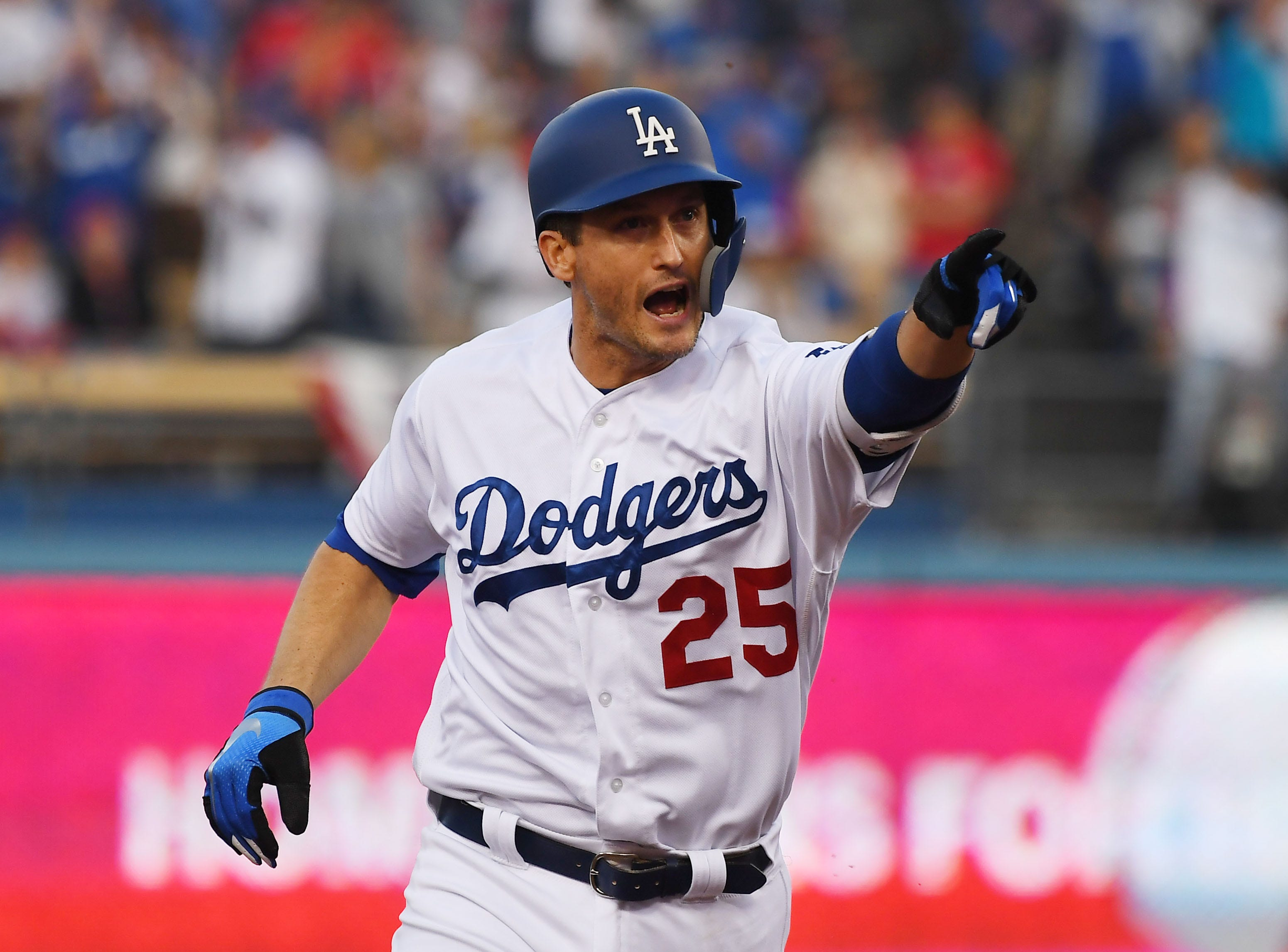 Game 5 at Dodger Stadium: David Freese celebrates after hitting a solo home run in the first inning.