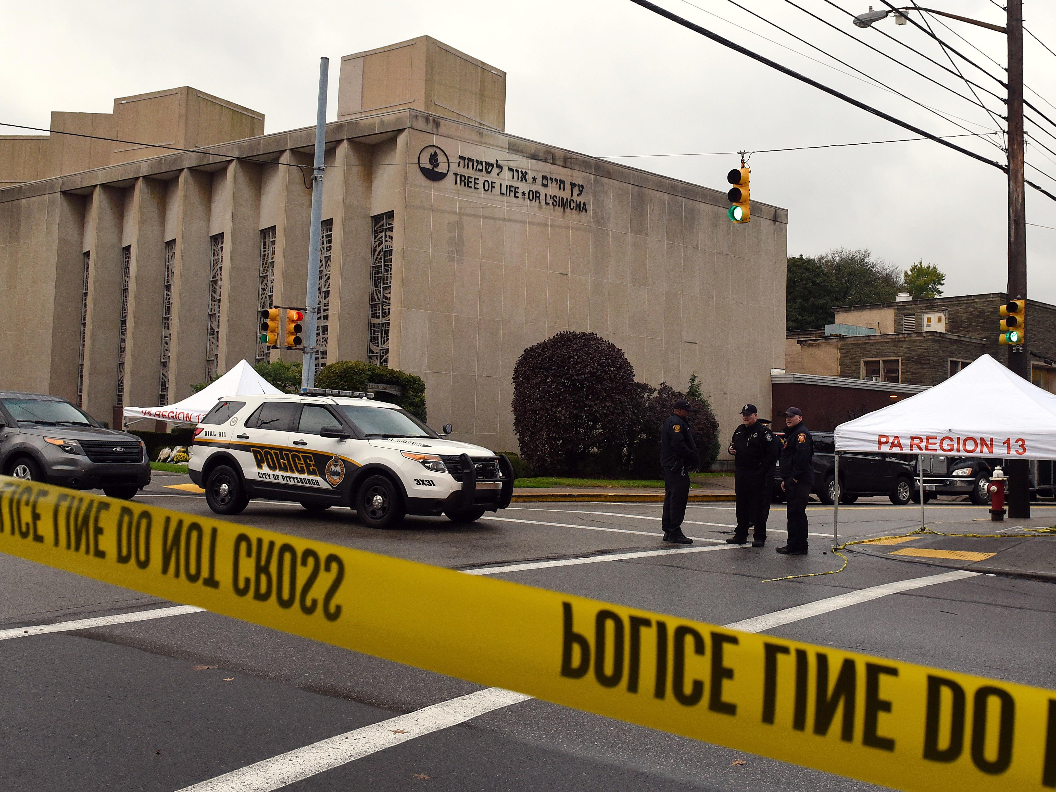 Police tape surrounds the Tree of Life Congregation synagogue in the Squirrel Hill neighborhood of Pittsburgh on Oct. 28, 2018.