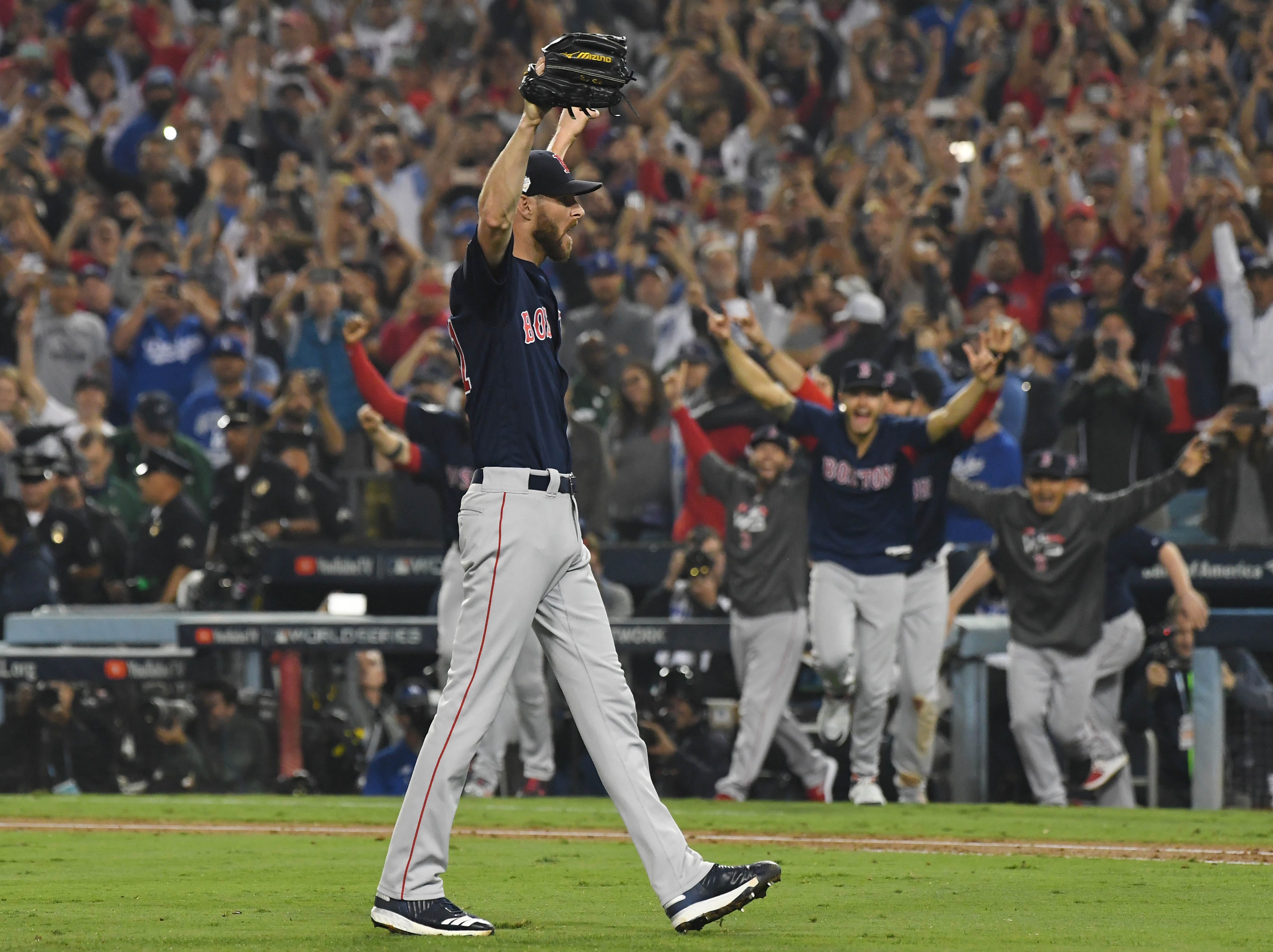 Game 5 at Dodger Stadium: Chris Sale celebrates after recording the final out.