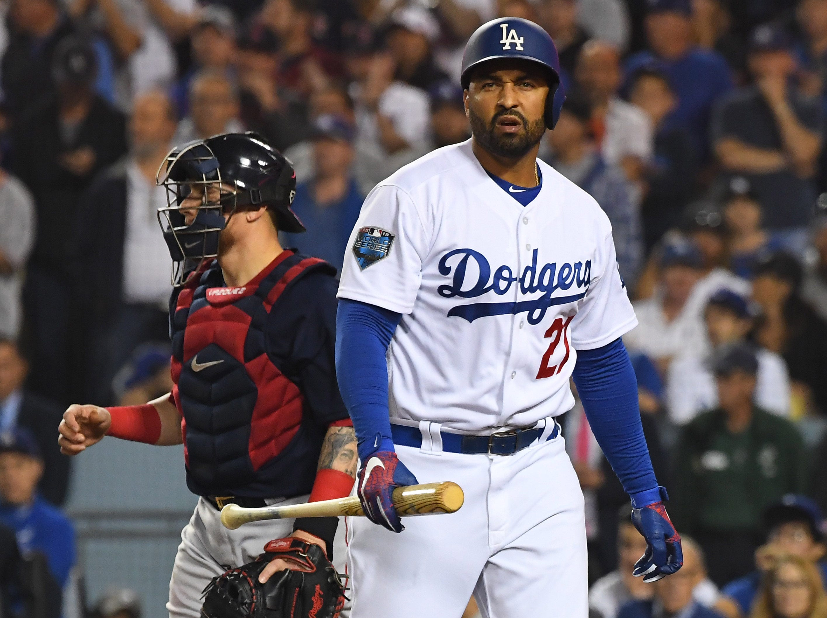 Game 5 at Dodger Stadium: Matt Kemp reacts after striking out in the eighth inning.