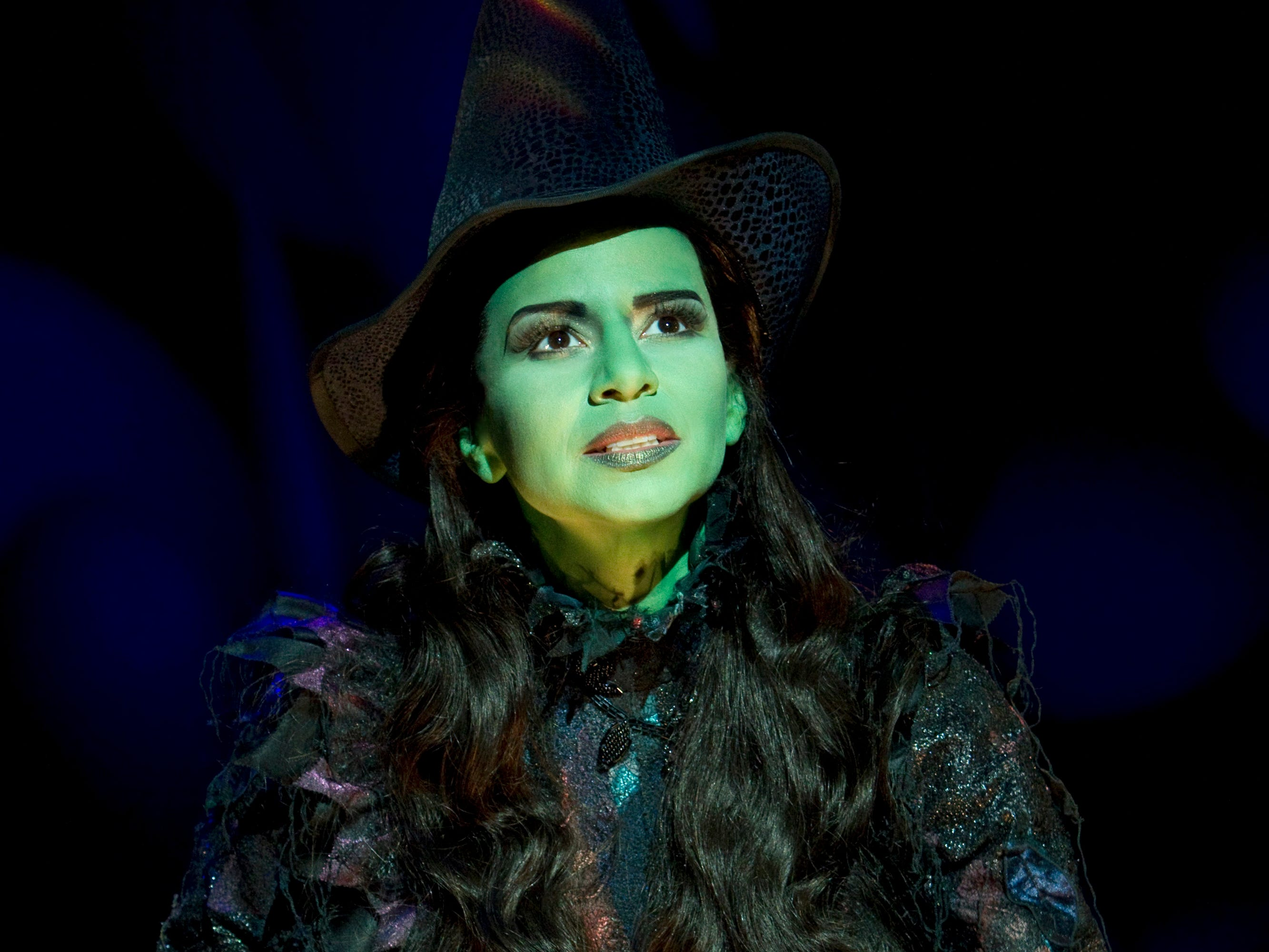 Mandy Gonzalez as Elphaba in the Broadway show Wicked. Photo by Joan Marcu [Via MerlinFTP Drop]