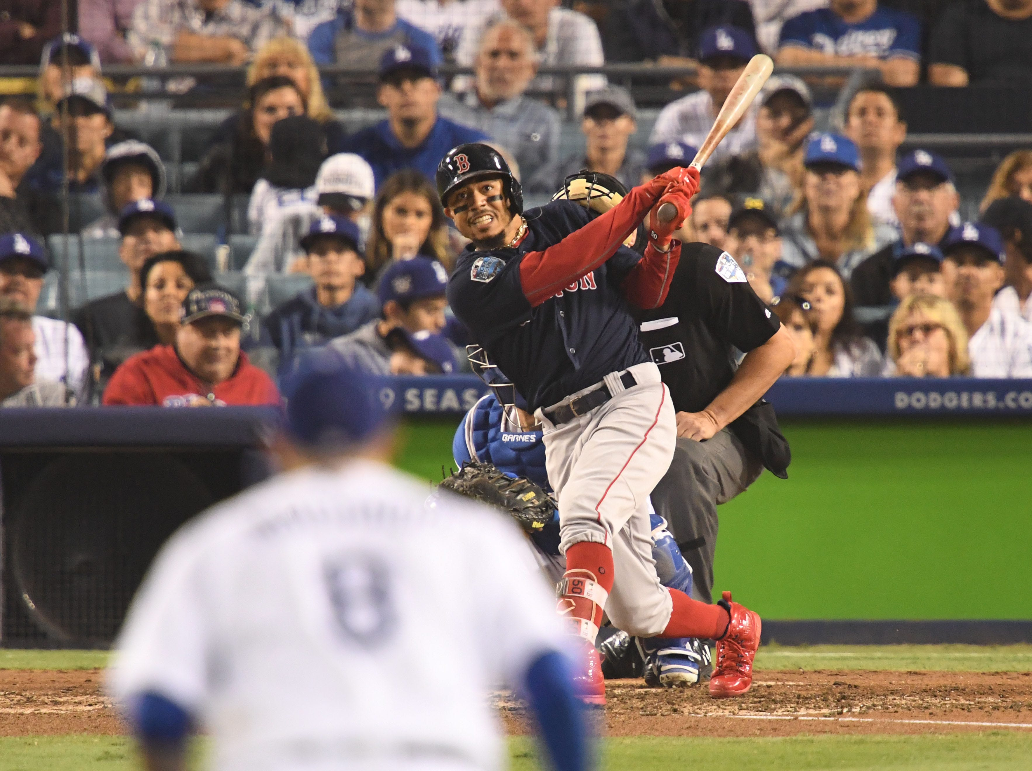 Game 5 at Dodger Stadium: Mookie Betts hits a solo home run in the sixth.